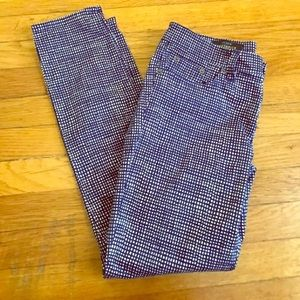 J Crew toothpick blue & white patterned pants - 27